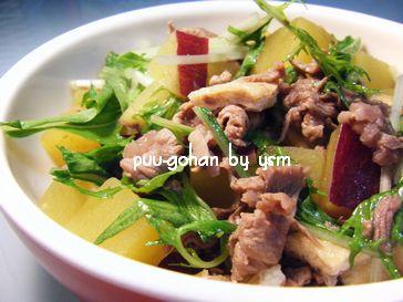 ペットシッターの手作り犬ごはん-牛肉と水菜のサツマイモごはん-